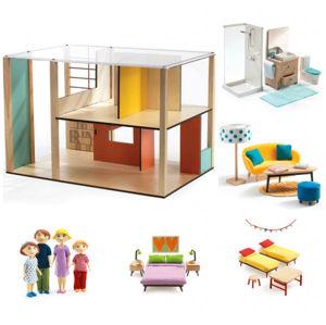 Domeček pro panenky - moderní domek - set s nábytkem a rodinou Gasparda a Romy
